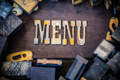 菜单概念生锈的类型 免版税库存照片