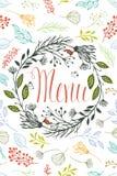 菜单的盖子与花卉设计元素 库存照片
