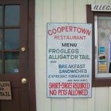 菜单的看法在Coppertown餐馆的 库存图片