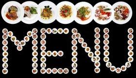 菜单词写与食物板材  免版税图库摄影