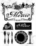 菜单集合whith图象和刀叉餐具 免版税库存照片