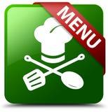 菜单餐馆象绿色正方形按钮 免版税图库摄影