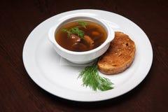 菜单-照片-从蘑菇的开胃汤 库存图片