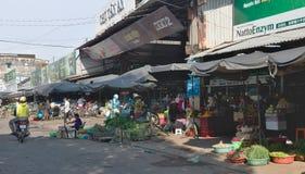 菜卖主在芹苴市,越南 库存照片