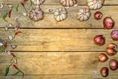 菜园青葱泰国大蒜泰国鸟辣椒背景 免版税库存照片