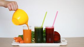 菜圆滑的人戒毒所-红萝卜、甜菜和蔬菜沙拉 素食有机食品 新近地被紧压的汁液鸡尾酒 股票录像