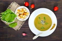 菜奶油色汤用菠菜和土豆在一个白色碗用大蒜油煎方型小面包片 免版税库存图片
