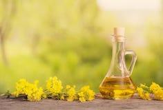 菜子油在木桌上的油菜和强奸花 免版税库存照片