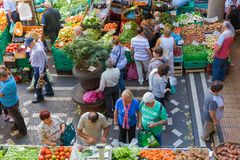 菜市场著名梅尔卡多dos丰沙尔,马德拉岛Lavradores  免版税库存照片