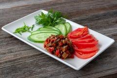 菜开胃菜用茄子,装饰用切 免版税库存图片