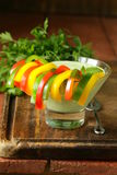 菜开胃菜酸奶垂度用胡椒 图库摄影