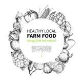 菜手拉的葡萄酒传染媒介框架例证 农厂市场海报 向量例证