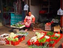 菜摊位在北京Hutong 免版税图库摄影