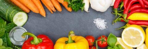 菜汇集烹调成份banne的蕃茄红萝卜 免版税库存图片