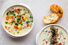 菜汤用蕃茄,芹菜,红萝卜,夏南瓜,葱,胡椒,硬花甘蓝 顶视图,两板材 在石灰的两个切片 免版税库存照片
