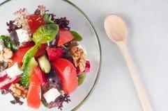 菜沙拉用在玻璃盘的希腊白软干酪 库存照片