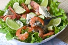 菜沙拉的虾 图库摄影