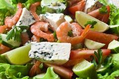 菜沙拉的虾 免版税库存照片