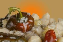 菜炖煮的食物用甜椒和米在板材,被隔绝 库存图片