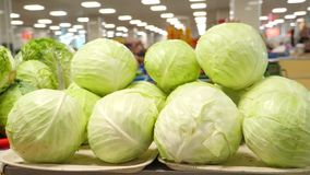 菜特写镜头在柜台的不是义卖市场 放置白色的圆白菜 4K 股票录像
