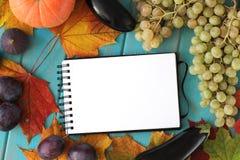 菜的笔记本和构成在蓝色木书桌上的 图库摄影