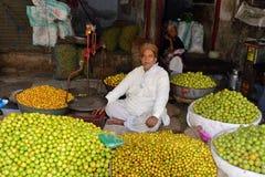 菜的街边小贩在印度 免版税库存照片