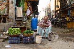 菜的街边小贩在印度 图库摄影