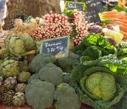 菜立场用硬花甘蓝、萝卜、朝鲜蓟和圆白菜 免版税库存照片