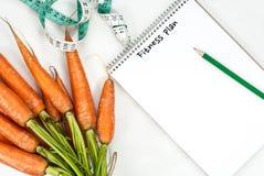 菜红萝卜健身概念 顶视图 库存图片