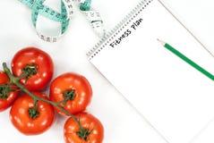 菜蕃茄健身概念 顶视图 库存照片