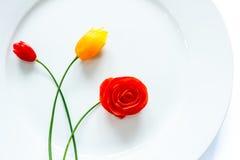 菜雕刻,蕃茄雕刻 免版税库存照片