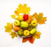 菜,果子,秋叶的时髦的构成 在空白背景的顶视图 秋天舱内甲板位置 免版税库存照片