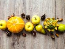 菜,果子,秋天自然元素的时髦的构成 在木背景的顶视图 秋天舱内甲板位置 免版税库存照片