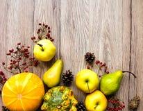 菜,果子,秋天莓果的时髦的构成 在木背景的顶视图 秋天舱内甲板位置 免版税库存图片