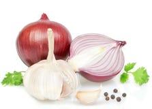 菜,烹调的葱,胡椒香料。 免版税库存图片