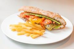 菜sandwitch -健康食物 免版税库存图片