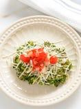 菠菜油炸馅饼冠上用蕃茄和乳酪 库存照片