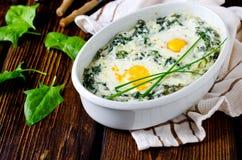 菠菜烘烤用乳酪,鸡蛋 免版税库存图片