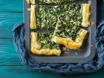 菠菜美味乳蛋饼用乳脂干酪 图库摄影