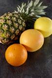 菠萝、桔子和葡萄柚的构成 免版税图库摄影