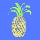 菠萝两种颜色的印刷品 库存图片