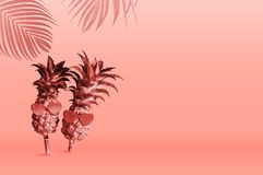 菠萝佩带的太阳镜夏天热带构思设计在年2019居住的珊瑚的Pantone颜色的 库存例证