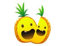 菠萝可口水多的明亮的动画片两面孔 免版税库存照片