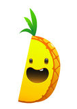 菠萝可口水多的明亮的动画片微笑面孔 免版税库存照片