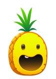 菠萝可口水多的明亮的动画片面孔 免版税库存图片