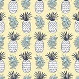 菠萝和热带叶子无缝的样式 库存照片