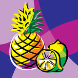 菠萝和石灰 免版税图库摄影