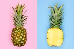 菠萝布局用在粉红彩笔的整个果子和在蓝色的半切片 库存图片