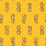 菠萝手拉的剪影,难看的东西概述传染媒介无缝的样式,略图例证印刷品 流行艺术样式colorfull ba 图库摄影
