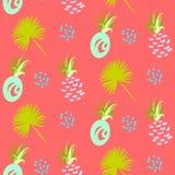 菠萝抽象异乎寻常的珊瑚传染媒介无缝的背景 纺织品样式 库存例证